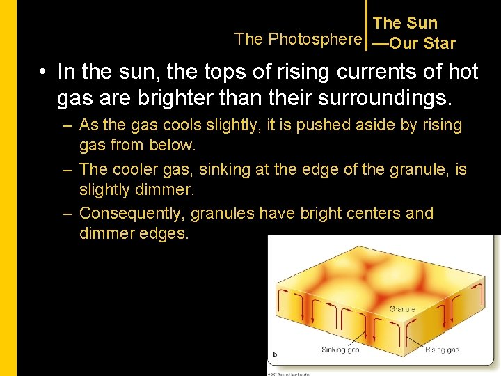 The Sun The Photosphere —Our Star • In the sun, the tops of rising