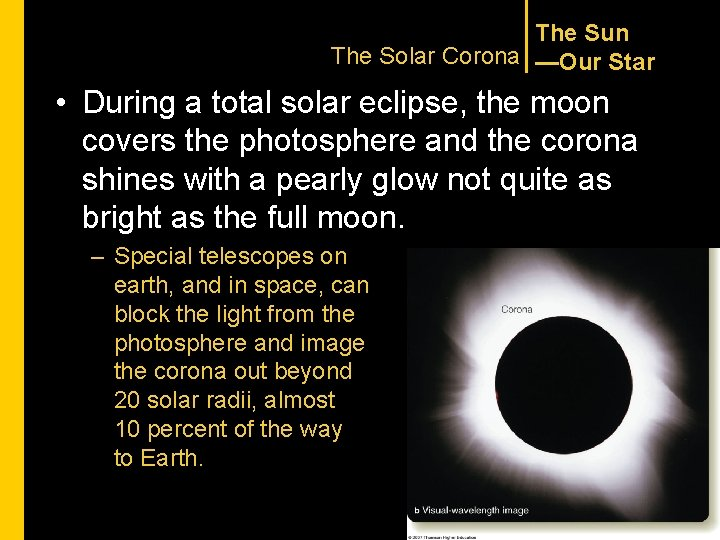 The Sun The Solar Corona —Our Star • During a total solar eclipse, the