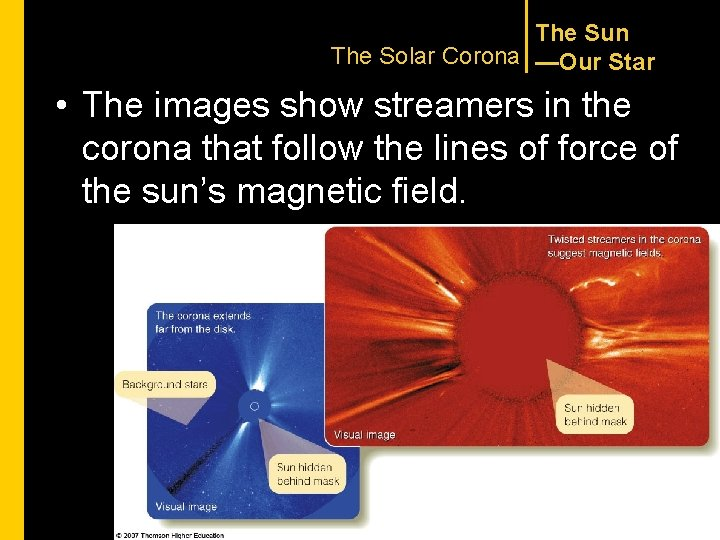 The Sun The Solar Corona —Our Star • The images show streamers in the