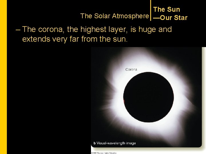 The Sun The Solar Atmosphere —Our Star – The corona, the highest layer, is