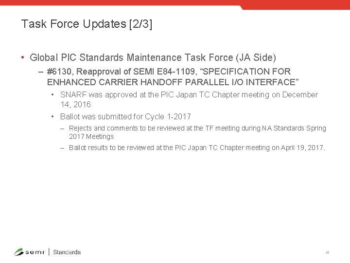 Task Force Updates [2/3] • Global PIC Standards Maintenance Task Force (JA Side) –