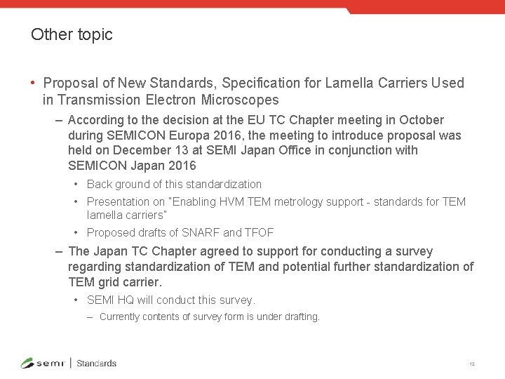 Other topic • Proposal of New Standards, Specification for Lamella Carriers Used in Transmission