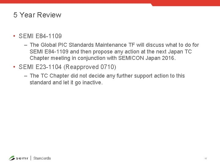 5 Year Review • SEMI E 84 -1109 – The Global PIC Standards Maintenance