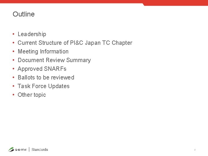 Outline • • Leadership Current Structure of PI&C Japan TC Chapter Meeting Information Document