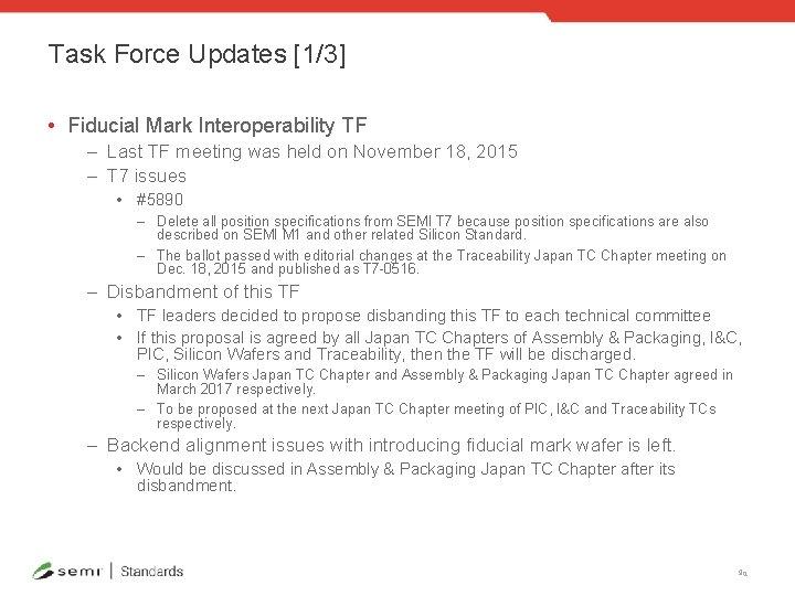 Task Force Updates [1/3] • Fiducial Mark Interoperability TF – Last TF meeting was