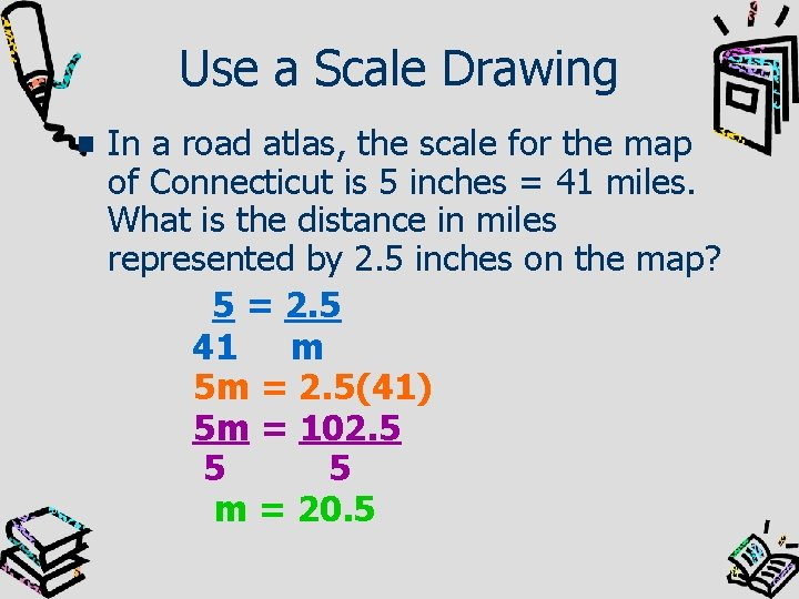 Use a Scale Drawing In a road atlas, the scale for the map of