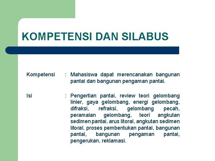 KOMPETENSI DAN SILABUS Kompetensi : Mahasiswa dapat merencanakan bangunan pantai dan bangunan pengaman pantai.
