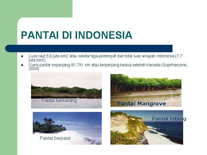 PANTAI DI INDONESIA l l Luas laut 5, 8 juta km 2 atau sekitar
