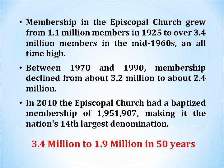 • Membership in the Episcopal Church grew from 1. 1 million members in