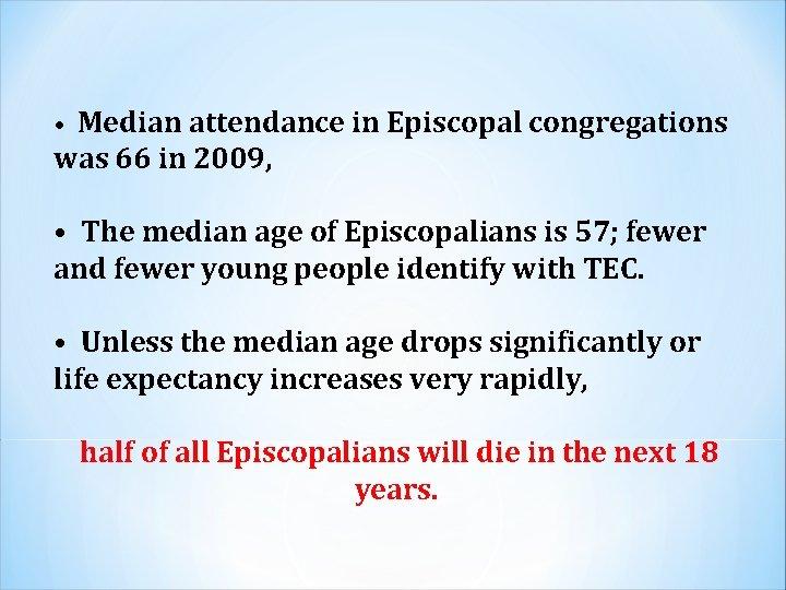 • Median attendance in Episcopal congregations was 66 in 2009, • The median