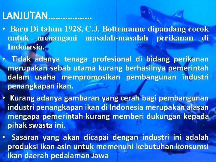 LANJUTAN……………… • Baru Di tahun 1928, C. J. Bottemanne dipandang cocok untuk menangani masalah-masalah