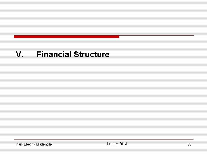 V. Financial Structure Park Elektrik Madencilik January 2013 25