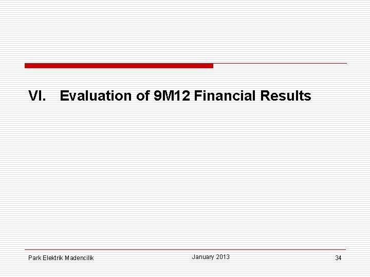 VI. Evaluation of 9 M 12 Financial Results Park Elektrik Madencilik January 2013 34
