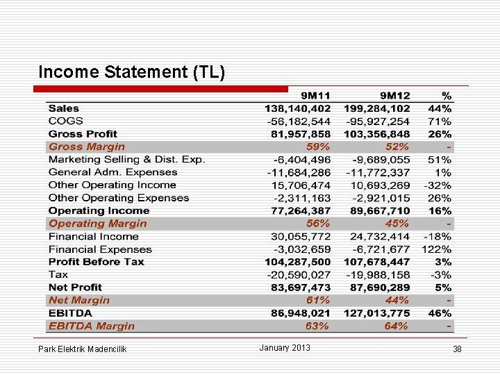Income Statement (TL) Park Elektrik Madencilik January 2013 38