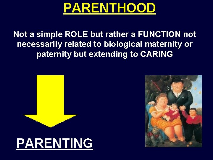 PARENTHOOD Not a simple ROLE but rather a FUNCTION not necessarily related to biological