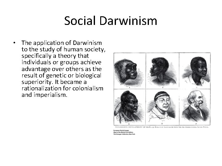 Social Darwinism • The application of Darwinism to the study of human society, specifically
