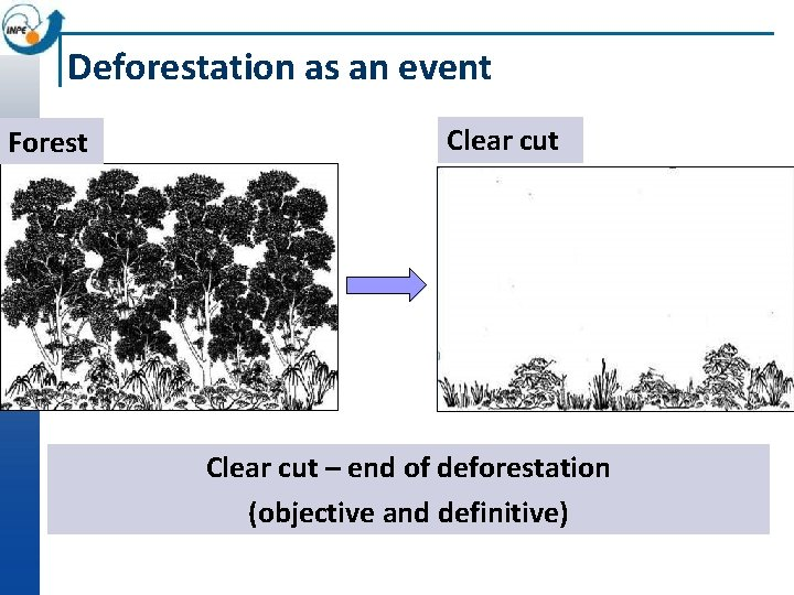 Deforestation as an event Forest Clear cut – end of deforestation (objective and definitive)
