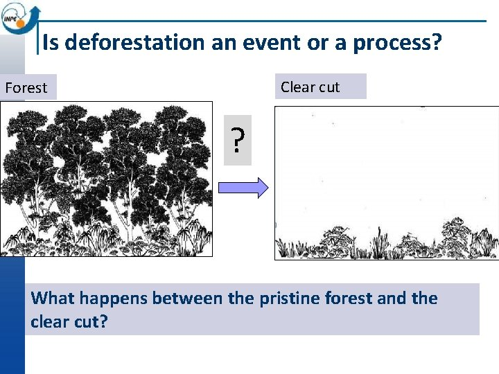 Is deforestation an event or a process? Clear cut Forest ? What happens between