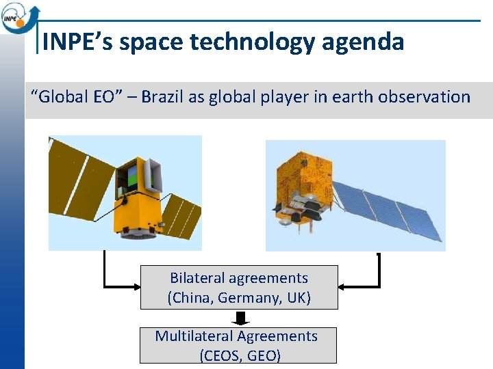 """INPE's space technology agenda """"Global EO"""" – Brazil as global player in earth observation"""