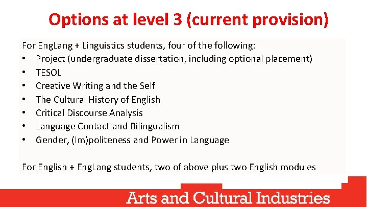 Options at level 3 (current provision) For Eng. Lang + Linguistics students, four of