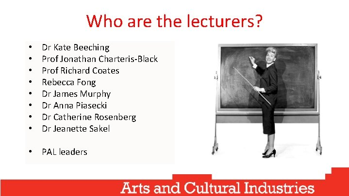 Who are the lecturers? • • Dr Kate Beeching Prof Jonathan Charteris-Black Prof Richard