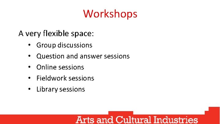 Workshops A very flexible space: • • • Group discussions Question and answer sessions