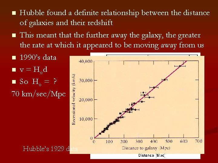 Hubble found a definite relationship between the distance of galaxies and their redshift n