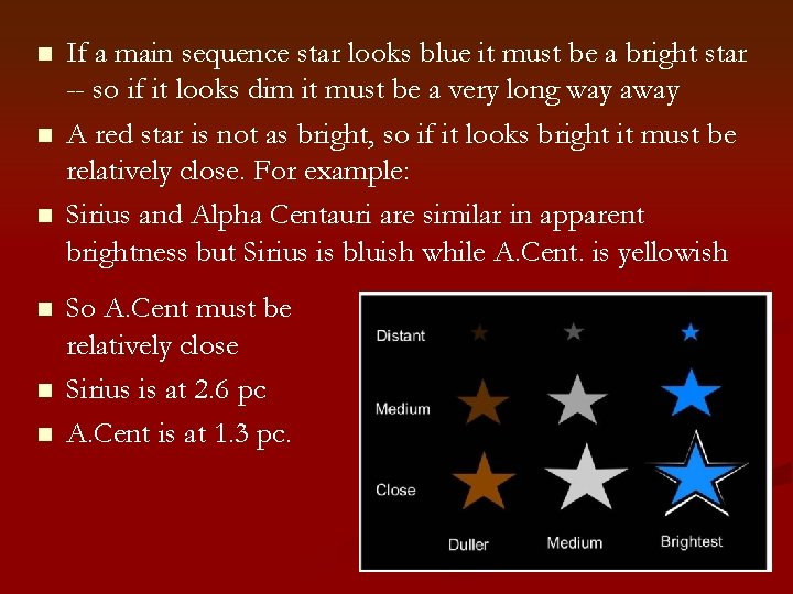 n n n If a main sequence star looks blue it must be a