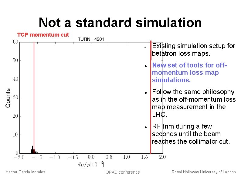 Not a standard simulation TCP momentum cut Hector Garcia Morales OPAC conference Existing simulation