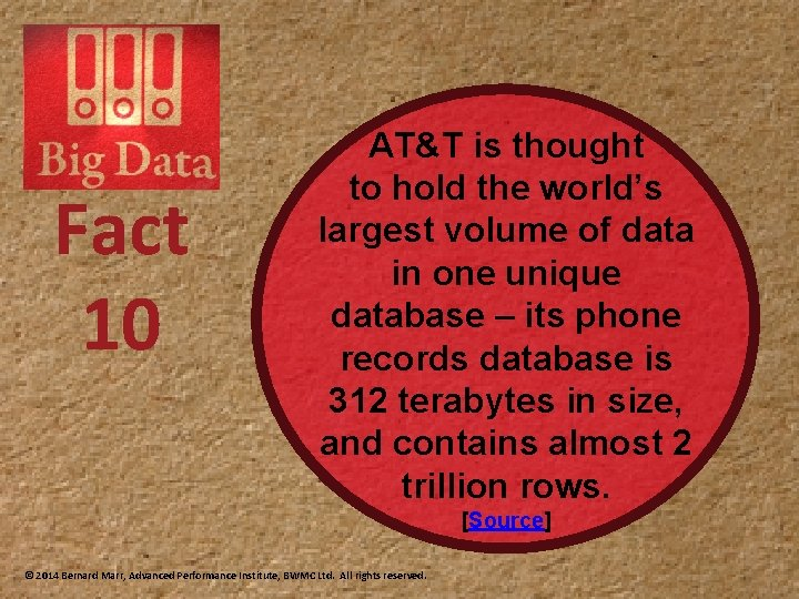 Fact 10 AT&T is thought to hold the world's largest volume of data in