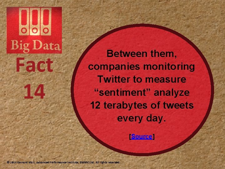 """Fact 14 Between them, companies monitoring Twitter to measure """"sentiment"""" analyze 12 terabytes of"""