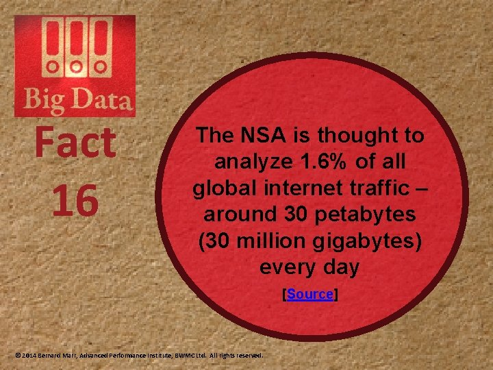 Fact 16 The NSA is thought to analyze 1. 6% of all global internet