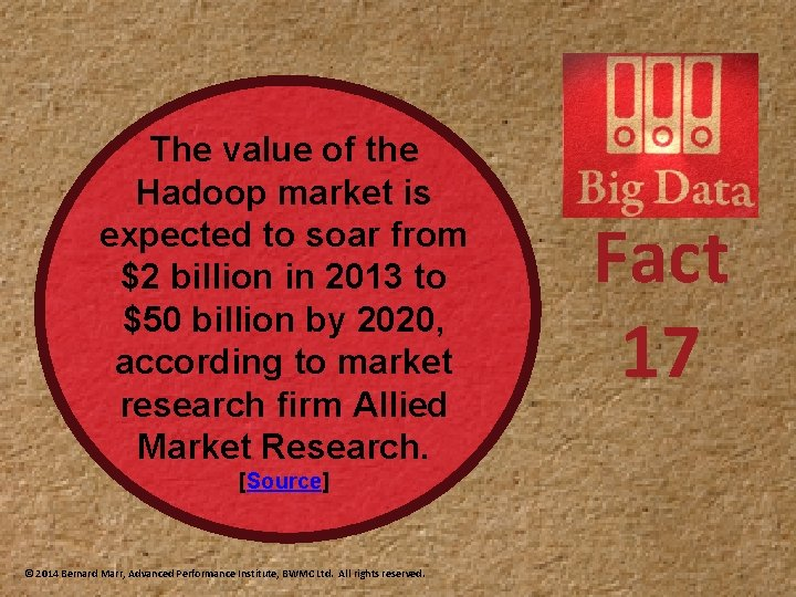 The value of the Hadoop market is expected to soar from $2 billion in
