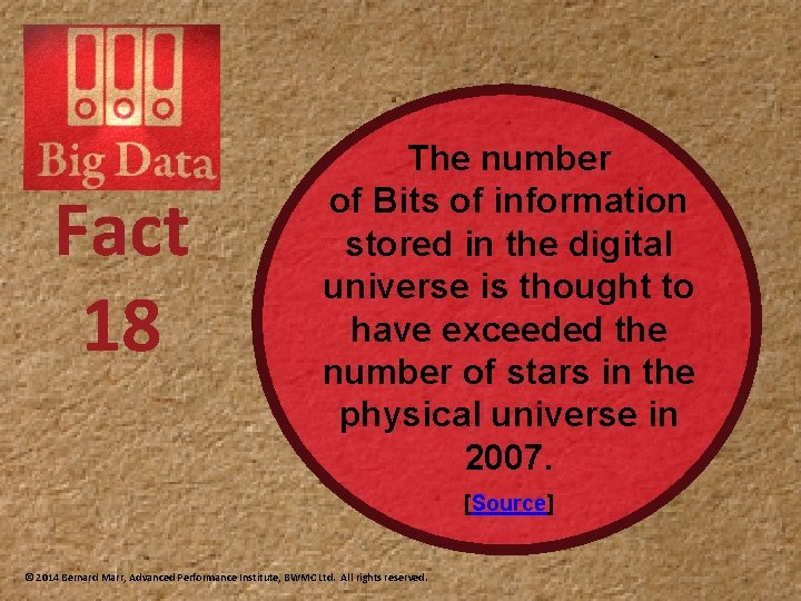 Fact 18 The number of Bits of information stored in the digital universe is