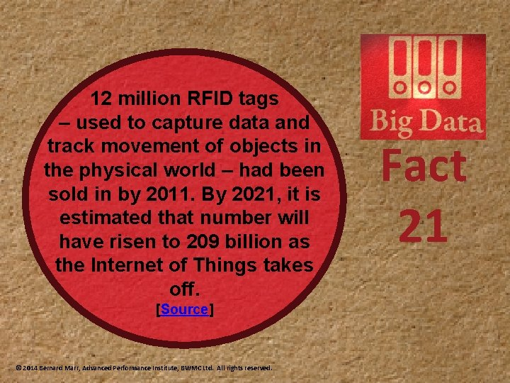 12 million RFID tags – used to capture data and track movement of objects