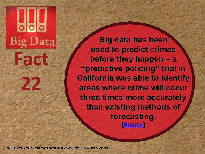 Fact 22 Big data has been used to predict crimes before they happen –
