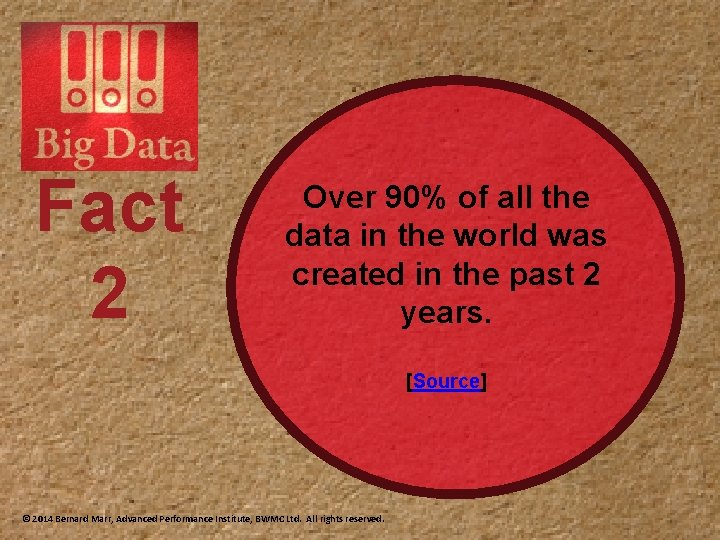 Fact 2 Over 90% of all the data in the world was created in