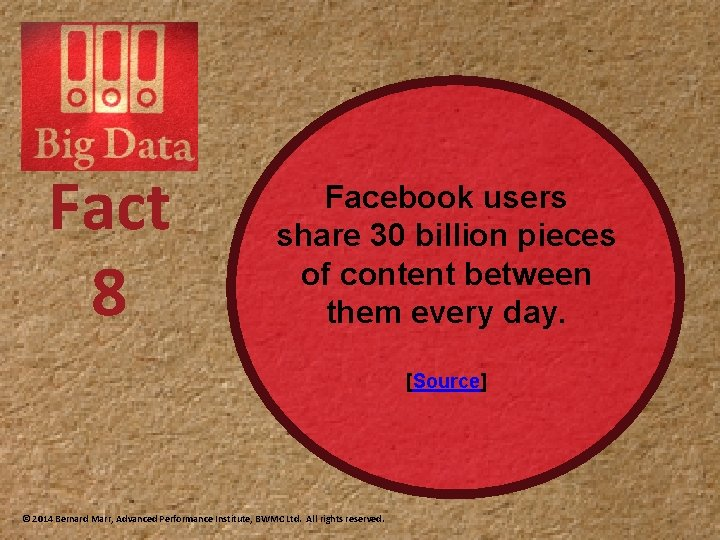 Fact 8 Facebook users share 30 billion pieces of content between them every day.