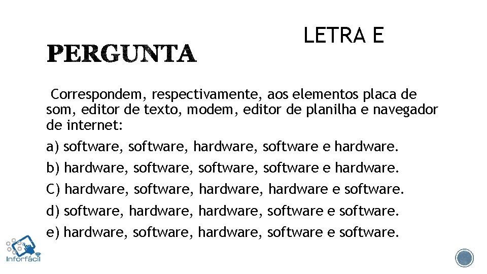LETRA E Correspondem, respectivamente, aos elementos placa de som, editor de texto, modem, editor