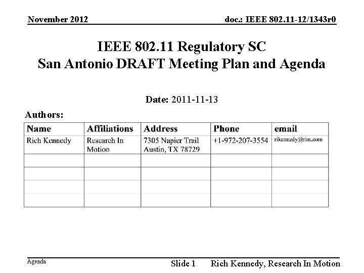 November 2012 doc. : IEEE 802. 11 -12/1343 r 0 IEEE 802. 11 Regulatory