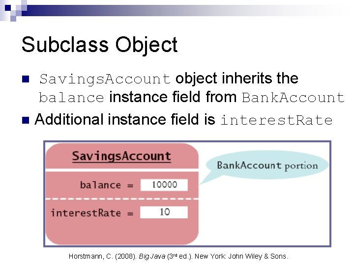Subclass Object Savings. Account object inherits the balance instance field from Bank. Account n