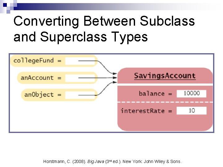 Converting Between Subclass and Superclass Types Horstmann, C. (2008). Big Java (3 rd ed.