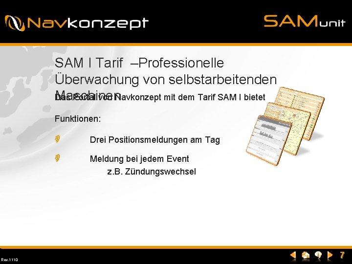 SAM I Tarif –Professionelle Überwachung von selbstarbeitenden Maschinen Das Portal von Navkonzept mit dem