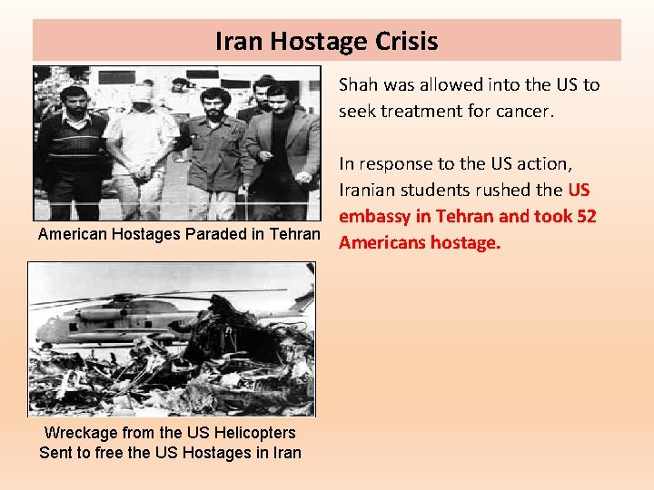 Iran Hostage Crisis Shah was allowed into the US to seek treatment for cancer.