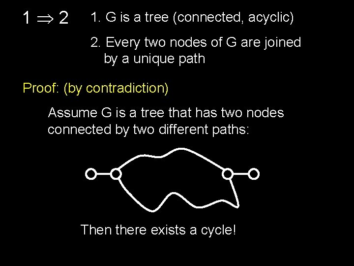1 2 1. G is a tree (connected, acyclic) 2. Every two nodes of