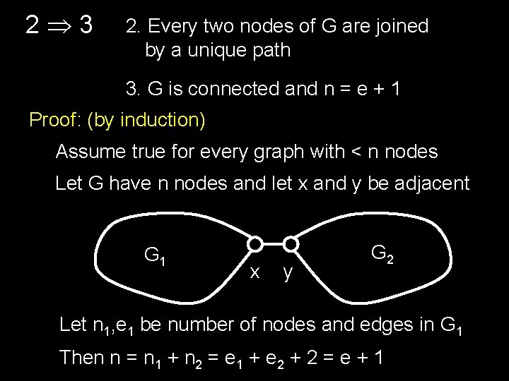 2 3 2. Every two nodes of G are joined by a unique path
