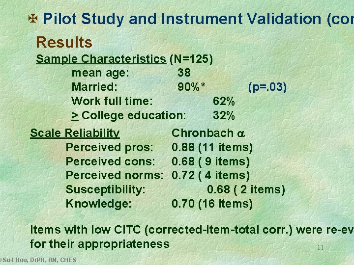 X Pilot Study and Instrument Validation (con Results Sample Characteristics (N=125) mean age: 38