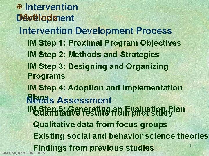 X Intervention Methods Development Intervention Development Process IM Step 1: Proximal Program Objectives IM