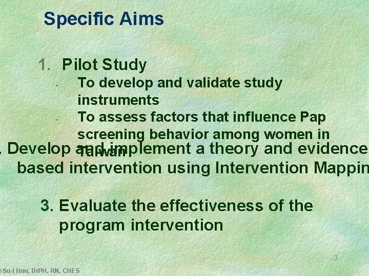Specific Aims 1. Pilot Study To develop and validate study instruments To assess factors