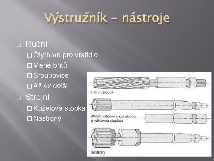Výstružník - nástroje � Ruční � Čtyřhran pro vratidlo � Méně břitů � Šroubovice